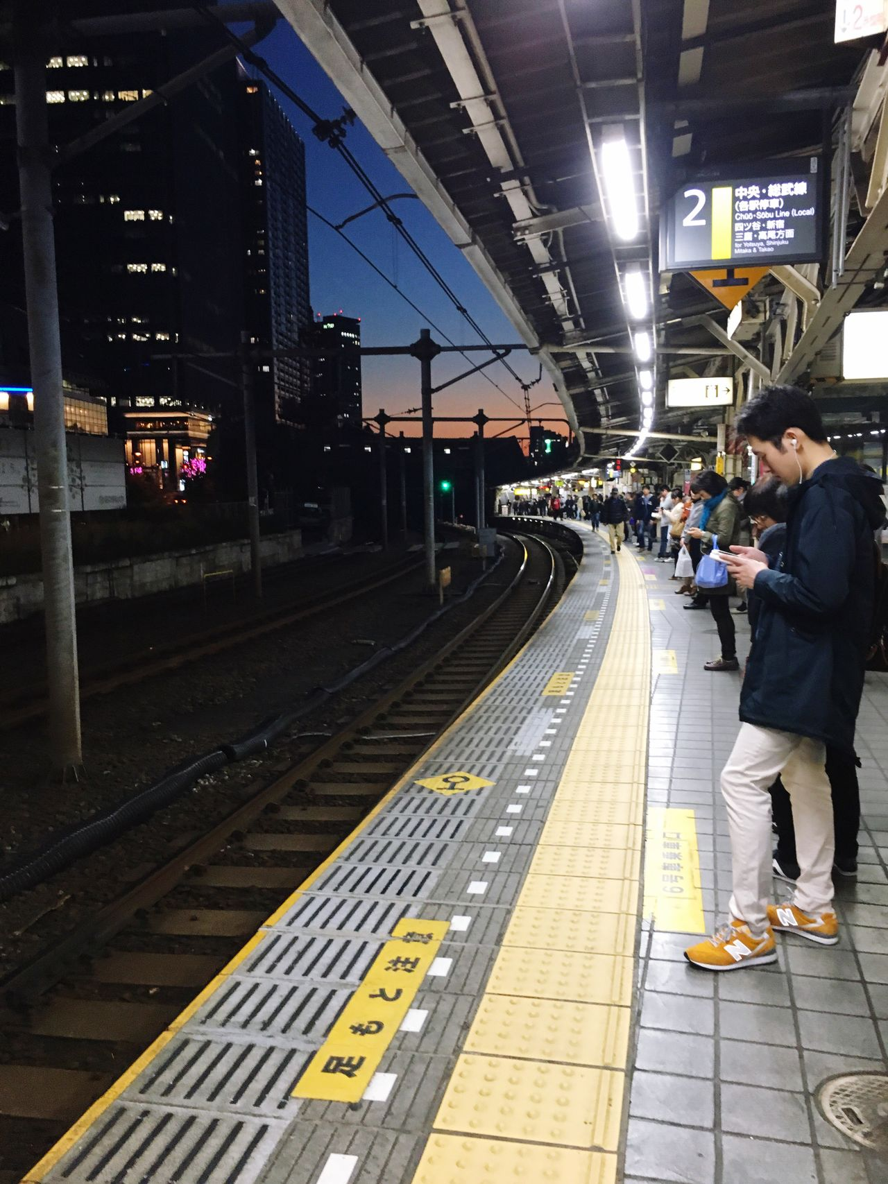 Tokyo,Japan Train Transportation Waiting Train Station Life JapanLife Public Transportation Night Lights Night Sky