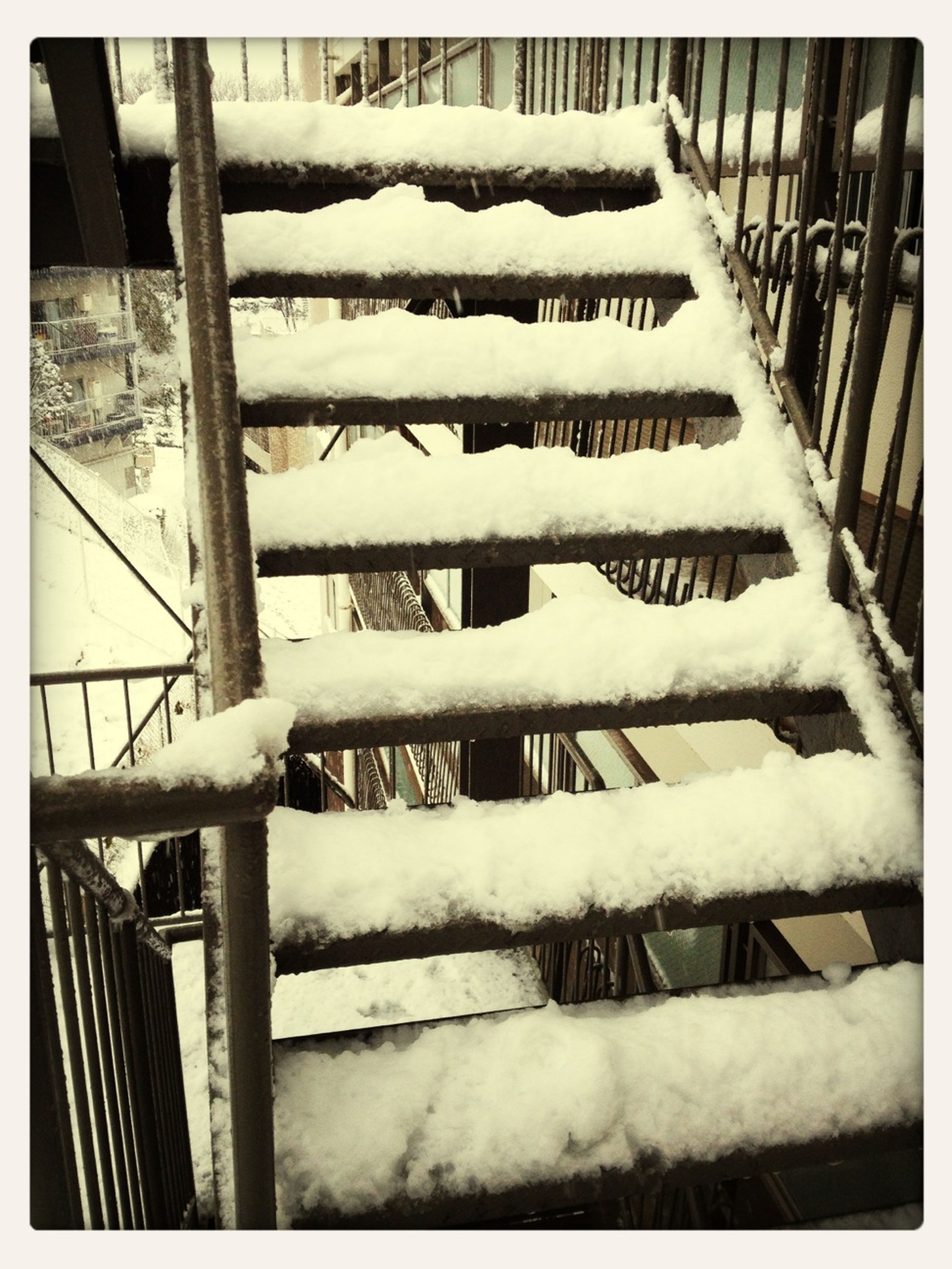 snow, winter, cold temperature, season, transfer print, weather, covering, frozen, built structure, auto post production filter, white color, architecture, fence, railing, building exterior, covered, day, nature, outdoors, no people