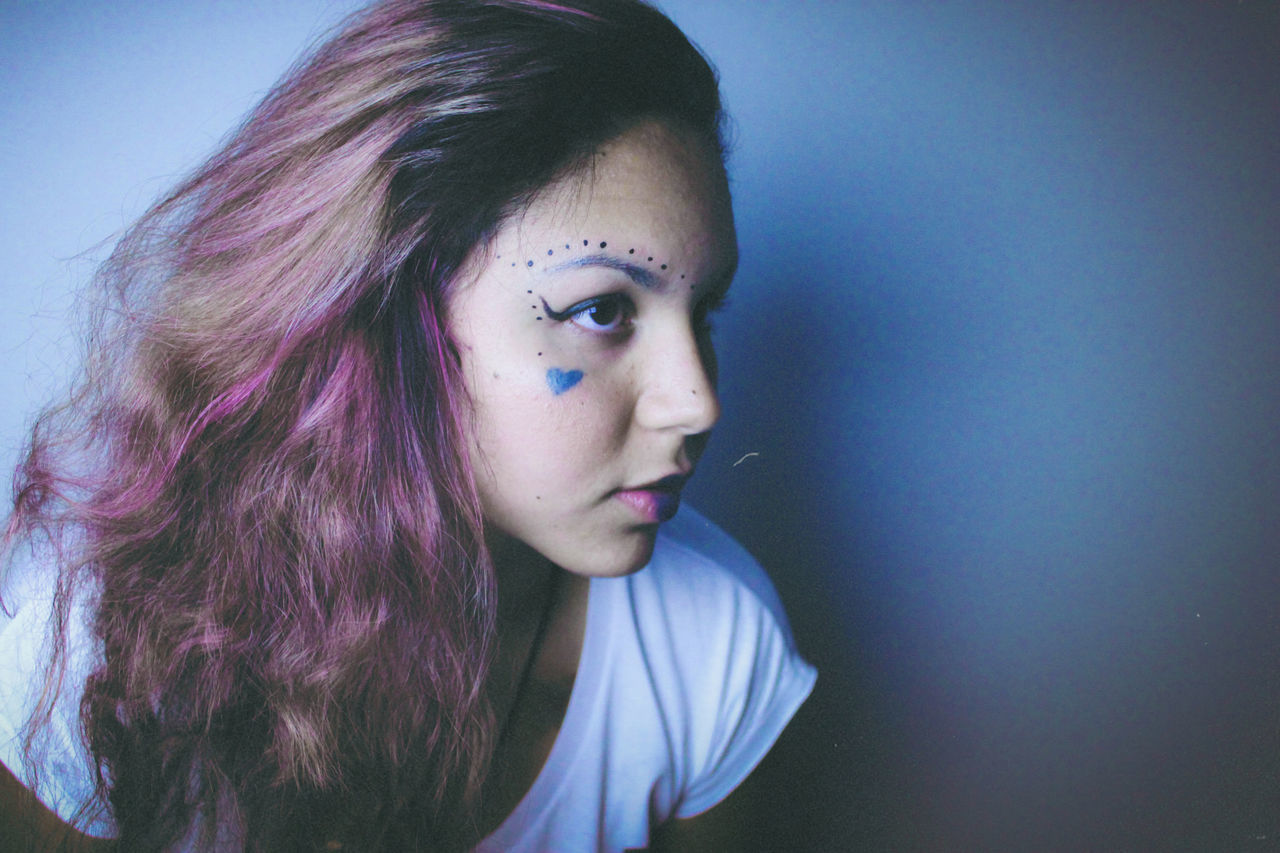 Beautiful stock photos of makeup, Auto Post Production Fitter, Blue Background, Dyed Hair, Face Paint