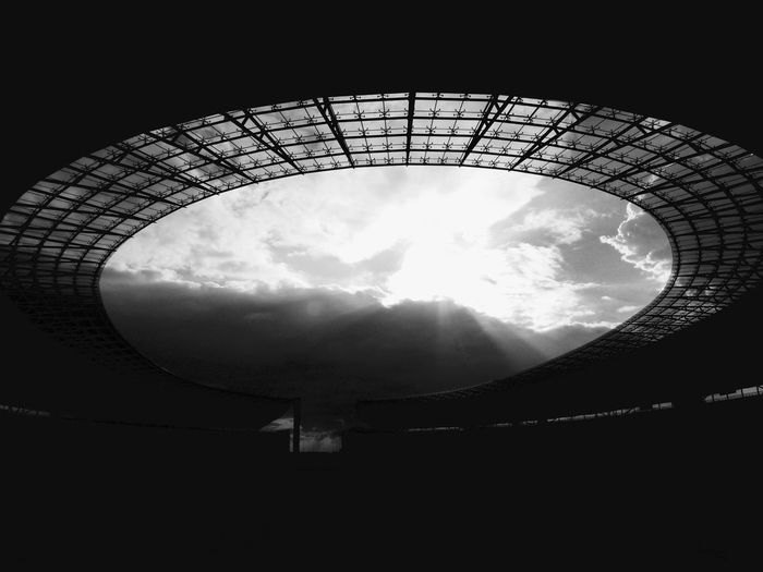 Berlin Roof Shadows & Lights Sky And Clouds Stadium Blackandwhite Day Lines And Shapes Low Angle View No People Outdoors Sky Structure Sunlight