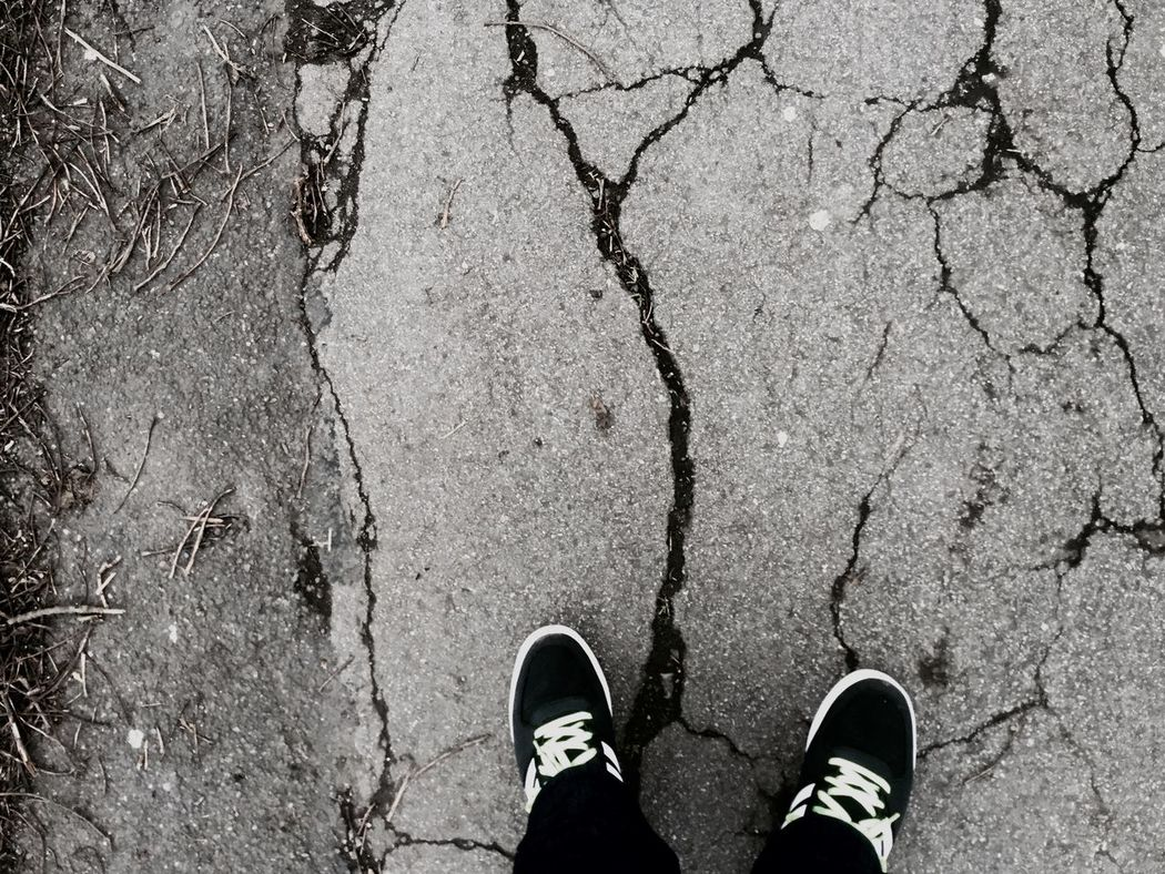 Blackandwhite Shoes Crack there is a crack in the earth