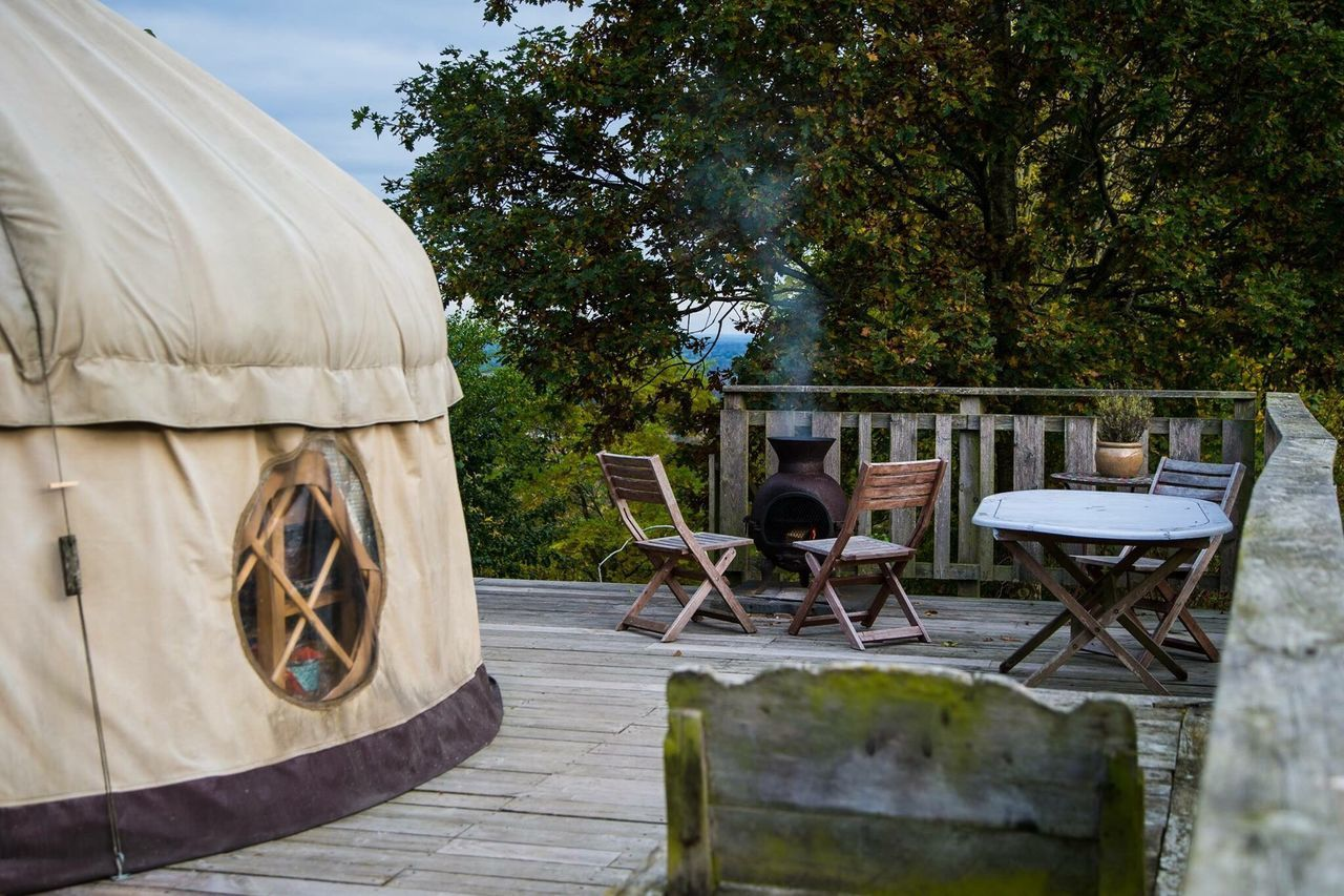 Yurts in the countryside - Glamping Chair Tree Table No People Outdoors Day Wellbeing Break Vacations Holiday Countryside Glamping Yurts England🇬🇧 Traditional Family Values No Phones Nature Architecture Tree Built Structure Family Values Of Life Values Togetherness