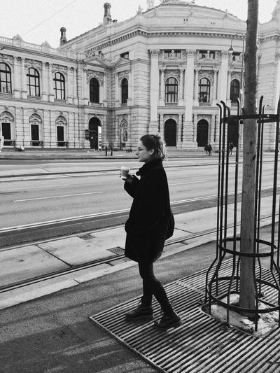 Vienna Built Structure Full Length Building Exterior Real People Architecture One Person Outdoors City People Blackandwhite Black And White