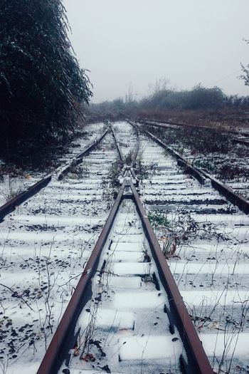 Cold Temperature Transportation Metal Rail Transportation Snow No People Outdoors Solitude Serenity Urban Landscape Wrinkles Of The City  North Portland Portland, OR Urban Geometry Railroad Track Railroad Ties Abandoned Overgrown