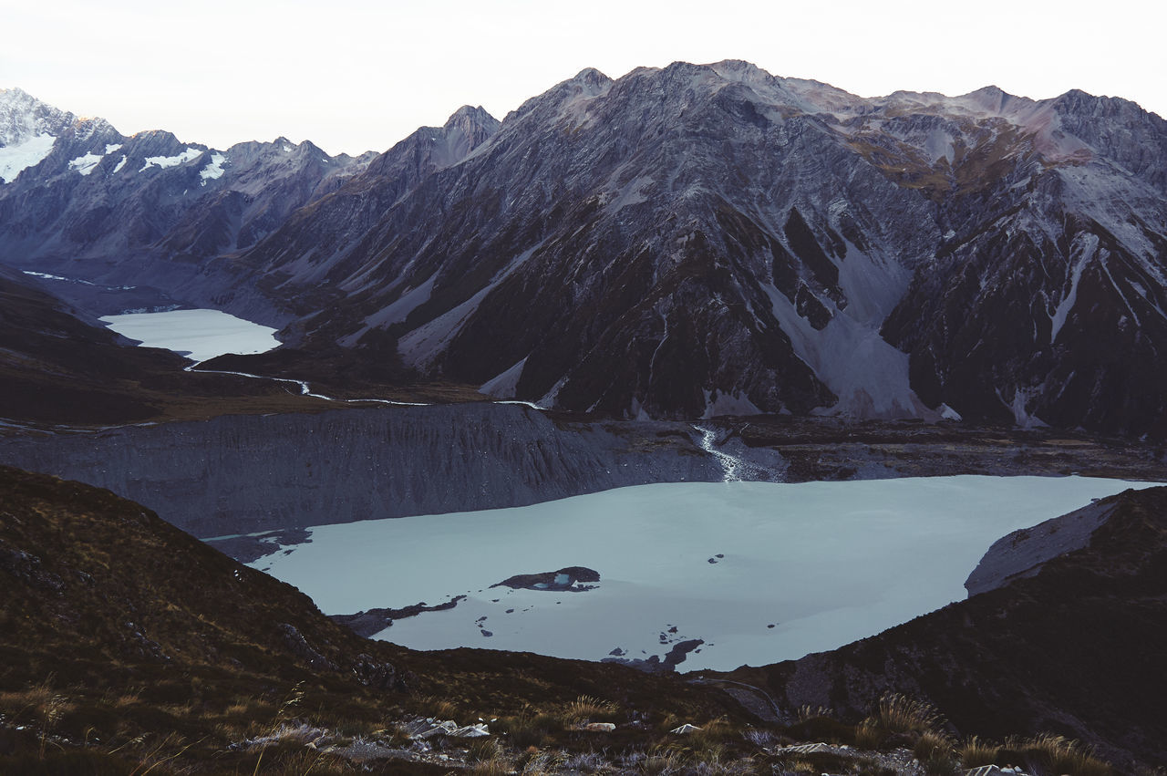 Mt Cook / Canterbury / South Island / New Zealand Beauty In Nature Day Extreme Terrain Lake Landscape Mountain Nature No People Outdoors Scenics Sky Snow Travel Destinations Wilderness