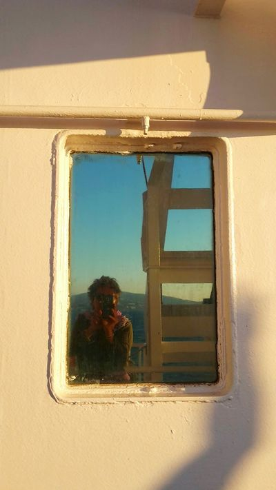 Hello World! Selfie Time On Board That's Me! End Of Holidays Ferry Boat Window Travel Photography On Board Boat Travel On The Sea Me Reflections Blue Sky Traveling Home For The Holidays The Portraitist - 2017 EyeEm Awards Live For The Story Let's Go. Together.