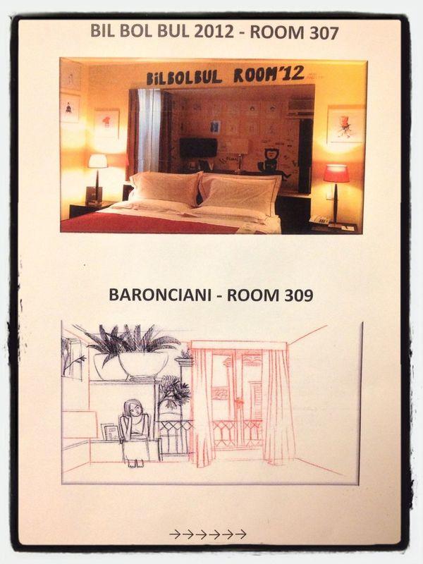 Le indicazioni al terzo piano dell'albergo bolognese Al Cappello Rosso per trovare le stanze degli autori di #bilbolbul by Nicola D'Agostino
