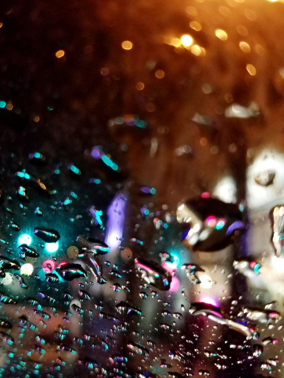Multi Colored Illuminated Close-up No People Backgrounds Particle Indoors  Raindrops Rain Rainy Day City Night Lights City Street Side Of The Road Outdoors EyeEm New York