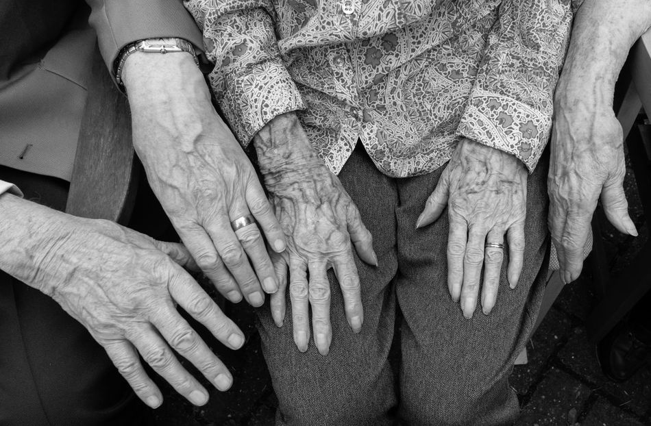 100 year old hands with 80 year old hands 100 Years Old Age Aged Aged Hands Aging Black And White Close-up Hands Part Of Unrecognizable Person People Together