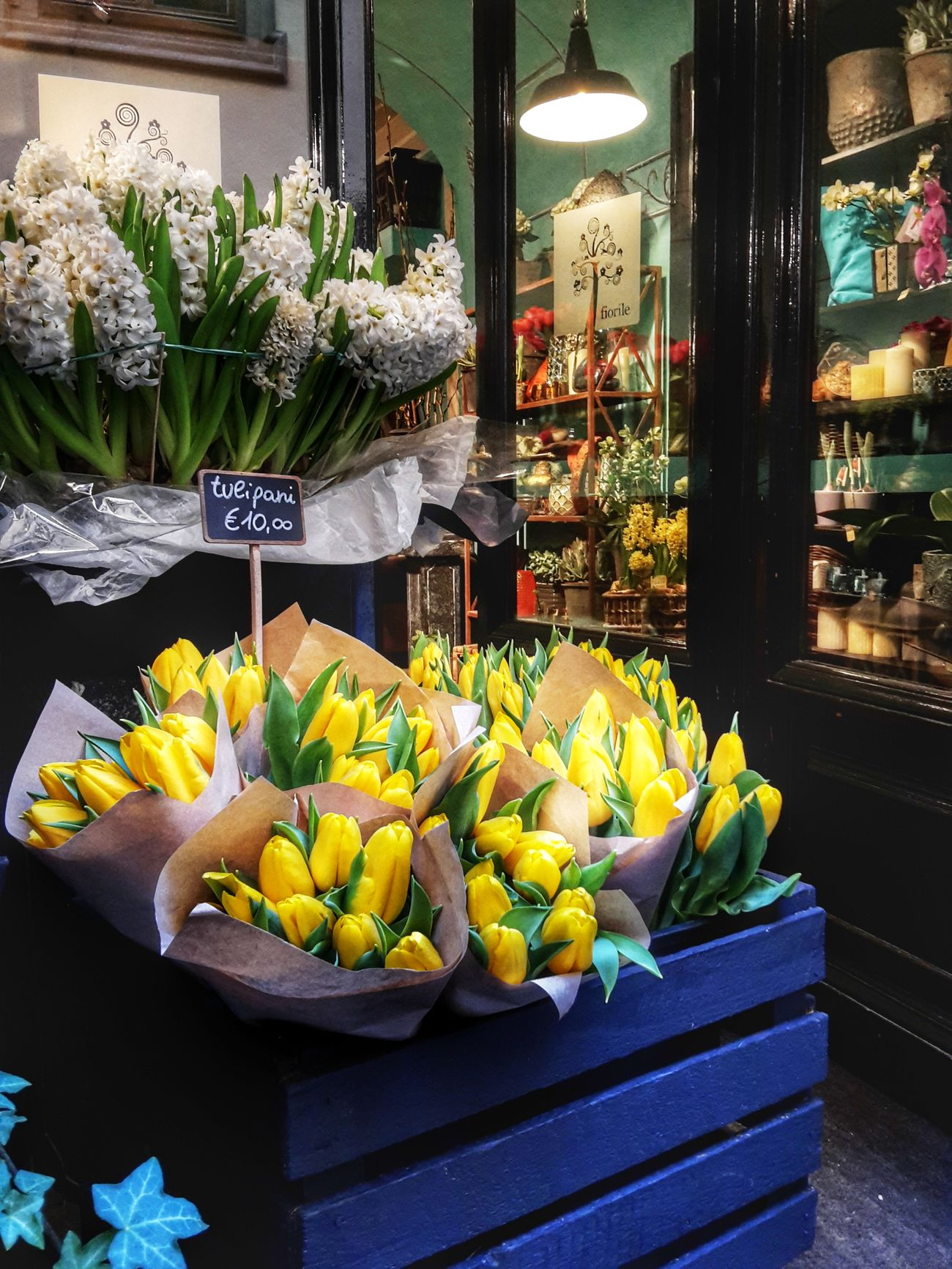I ♡ flower shops Spring Bulbs Flower Tulips Hyacinths In Bloom Freshness Yellow Colour Vibrant Colours Flower Shop Flower Arrangement Shop Window Flowers On Display Beauty In Nature