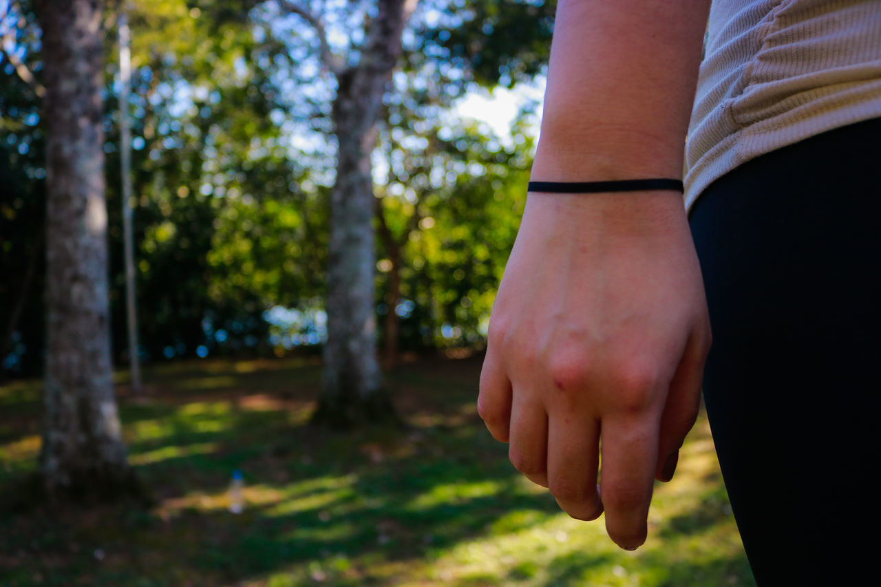 human hand, human body part, real people, one person, men, focus on foreground, tree, outdoors, day, nature, close-up, adult, people