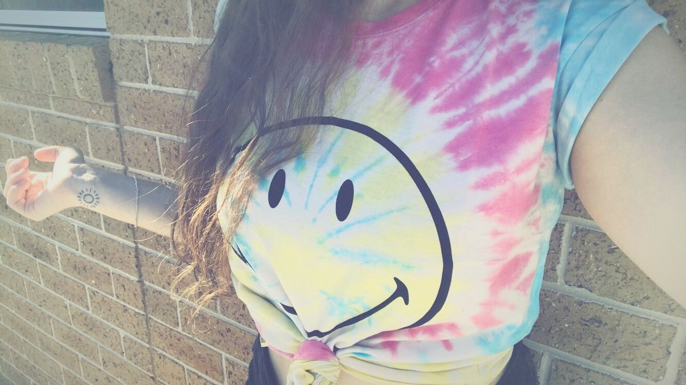 Smiley Face Tiedye✌✌ Cropped Happy Tattoo Sunshine First Eyeem Photo