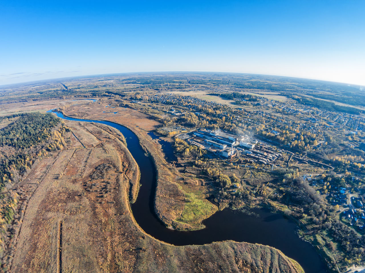 Aerial view of the factory, the river Mologa and settlement Maksatikha A Bird's Eye View Aerial Aerial View Beauty In Nature Day Environment Landscape Nature No People Outdoors River Scenics Sky Top Perspective Village