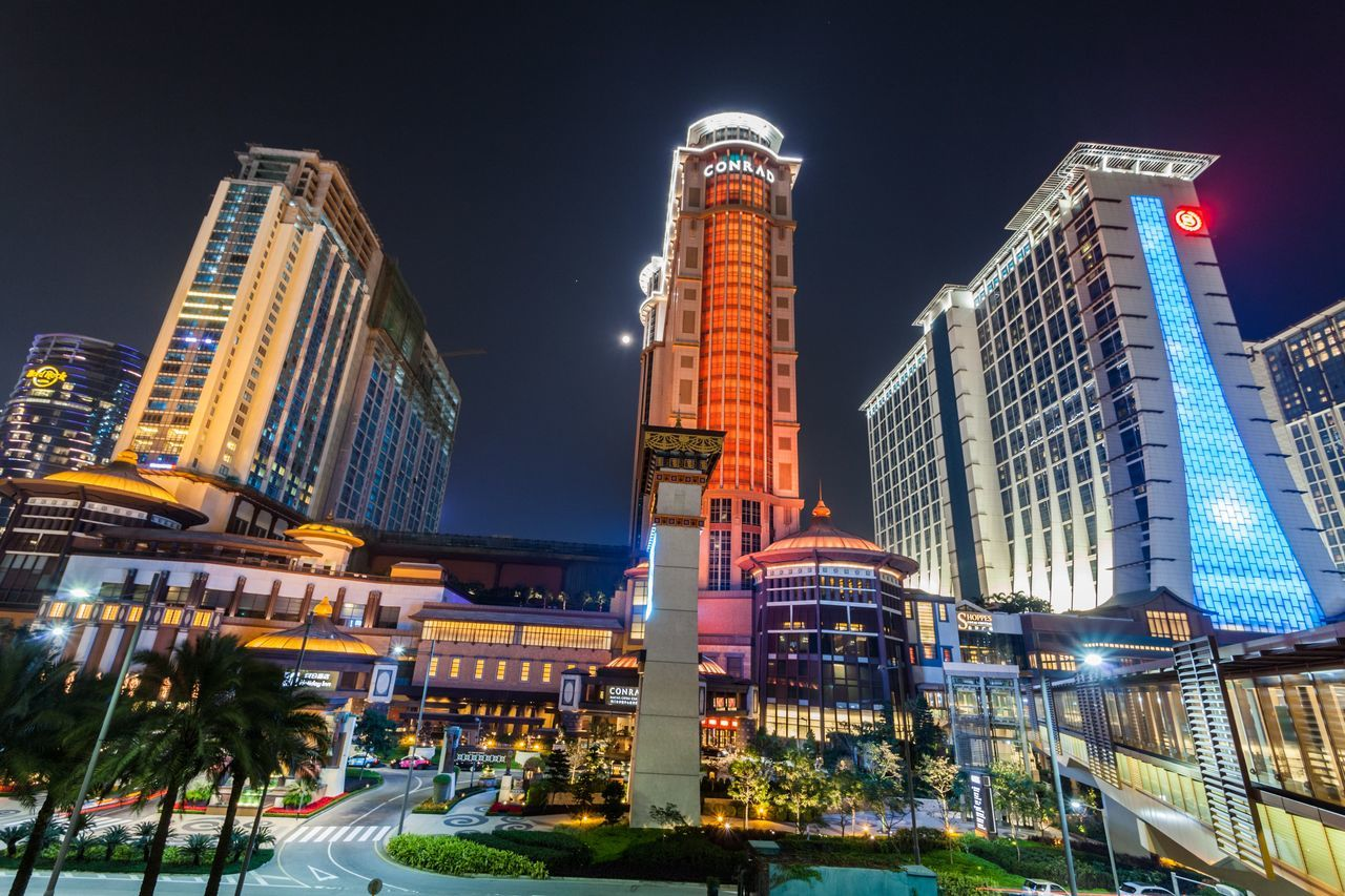 Sands Cotai Central is a casino resort on the Cotai Strip, including the world's largest Holiday Inn, Conrad, and Sheraton Architecture Building Exterior Casino Casino Night City City Life Conrad Cotai Cotai Strip CotaiStripMacau Entertainment Holiday Inn Illuminated Macao  Macao China Macau Macau, China Modern Night Outdoors Sands Sheraton Skyscraper Travel Travel Destinations