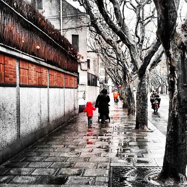 Sharp Loving Caring Waking Raining Children Warm Wet Streetlevel Black Red Orange