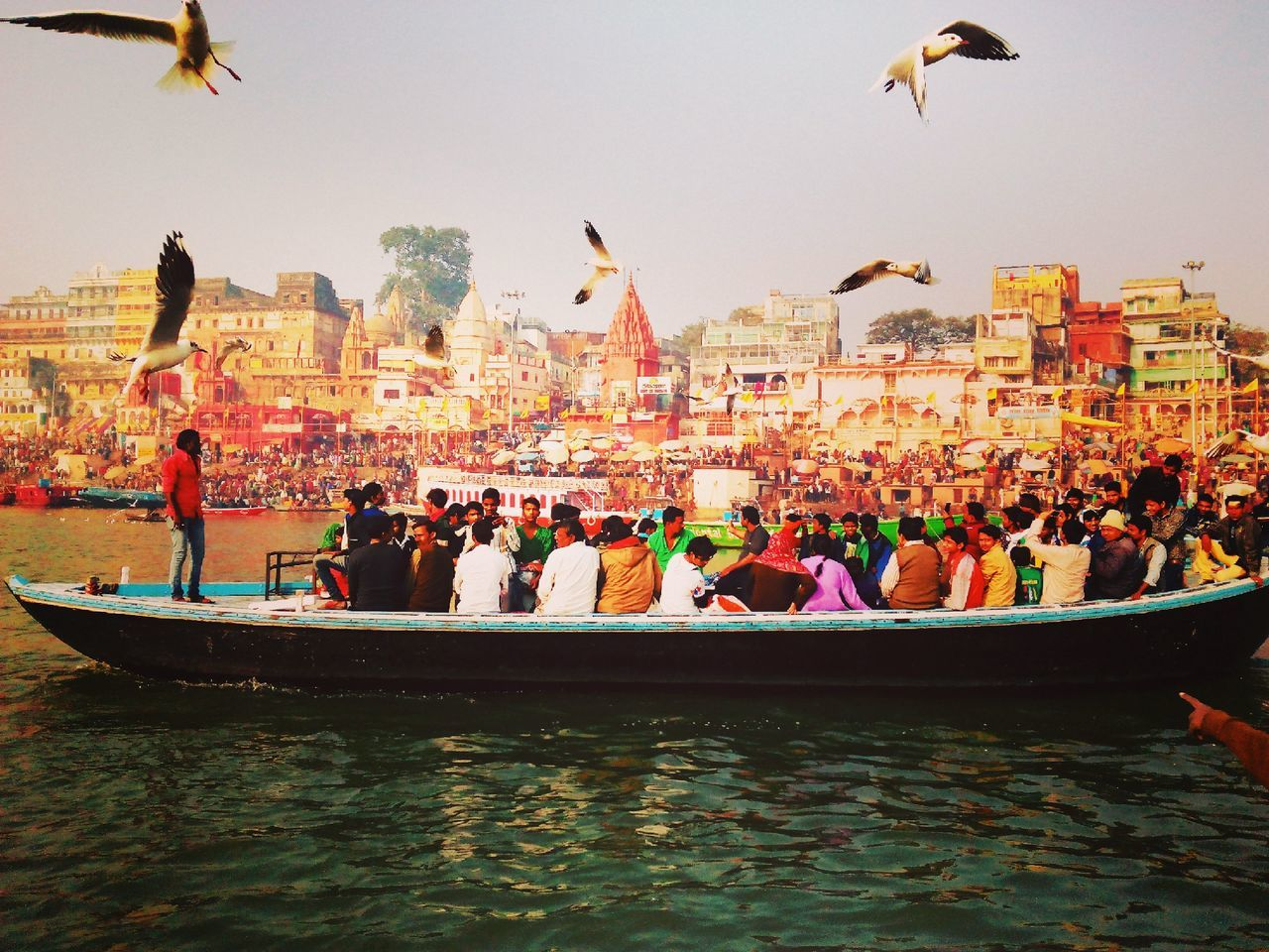 Water Outdoors Sky Amusement Park People Day Varanasi, India Ganges, Indian Lifestyle And Culture, Bathing In The Ganges,