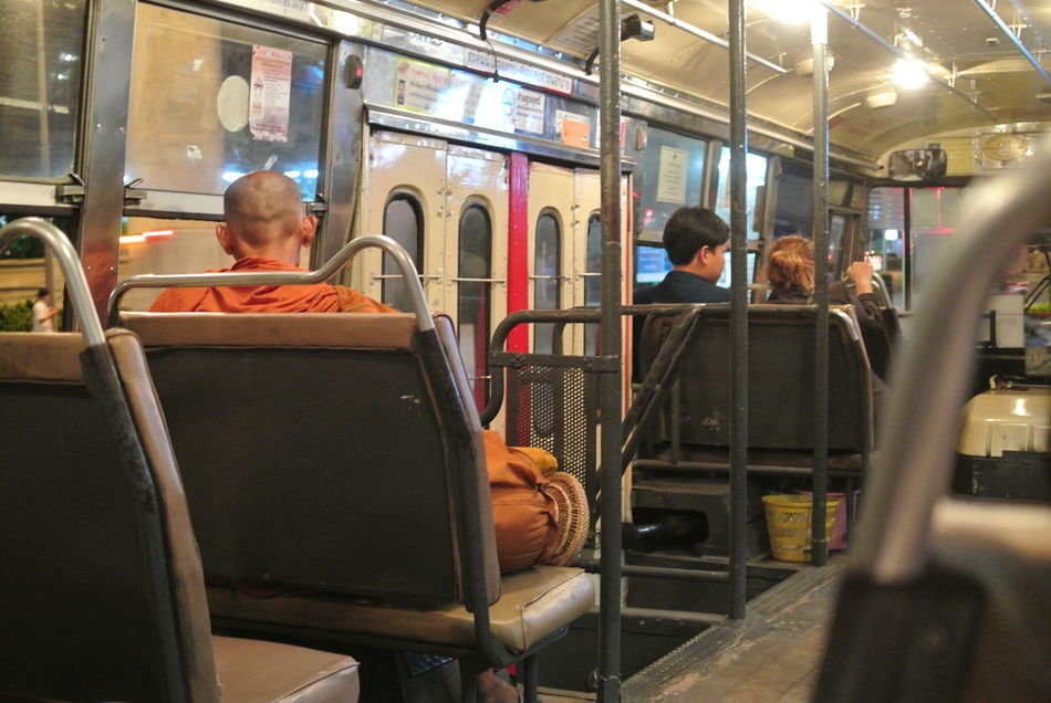 Adult Adults Only Buddhist Monks Bus Day Indoors  Men Monk  On The Bus Only Men People Public Transportation Senior Men