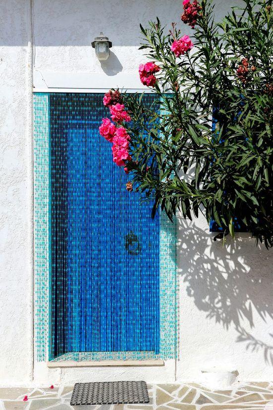 Flower No People Freshness Crete Greece Door Blue Light Blue Mediterranean  Mediterranean Culture Mediterranean Lifestyle