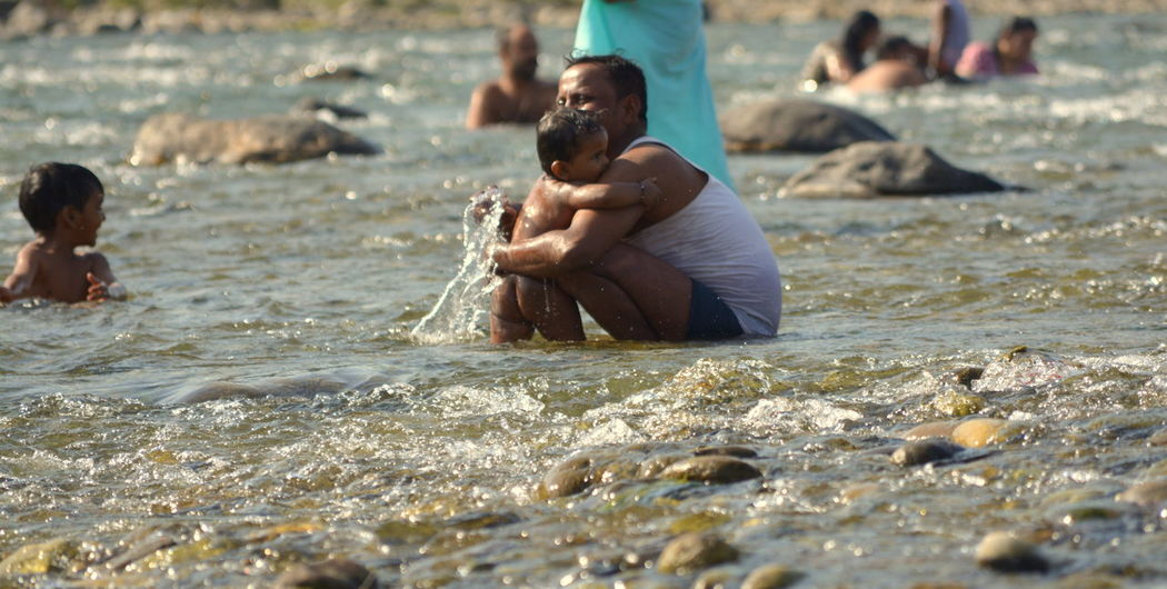 Beautylieseverywhere Delta Family Family❤ Ganga Happiness Holy Bath Holy Ganga India Jim Corbett Kosi River Love Parenting Parents Parents And Children Rishikesh River