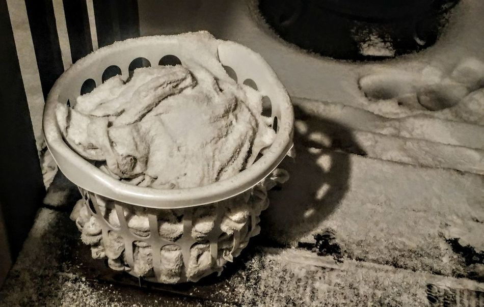 This is not a Frozen Confection but rather some wet towels in a laundry basket I left outside. Then the Snowstorm hit. No People Beauty Is Everywhere  Snow Scene  Snowscape EyeEm Best Shots Outdoors Nature Winter Cold Temperature Night Tranquil Scene Laundry Vintage Textures In Nature Textures Texture