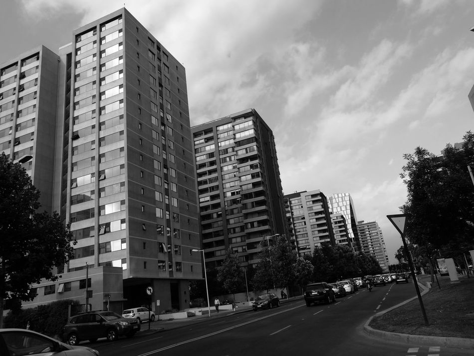City Building Exterior Outdoors Travel Destinations Architecture Skyscraper Sky Built Structure No People Road Day White Color Modern Blackandwhite Santiago Armony