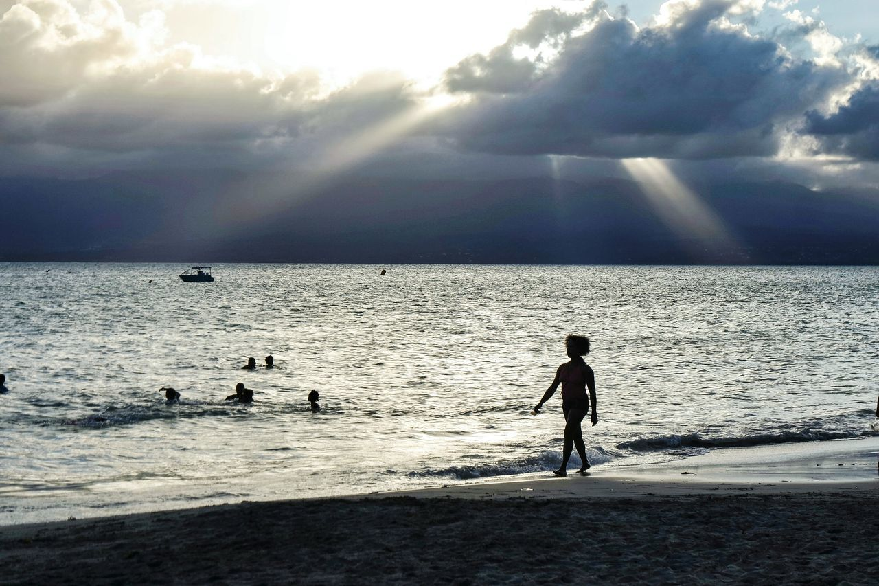 French Caribbean Sea Beach Nature Water Sky Silhouette Leisure Activity Outdoors Vacations Real People Beauty In Nature Sand People Cloud - Sky Day Adults Only Adult Travel Destinations Eye4photography  Open Edit EyeEm Best Shots Fresh 3 Vacations Beachphotography Beauty In Nature