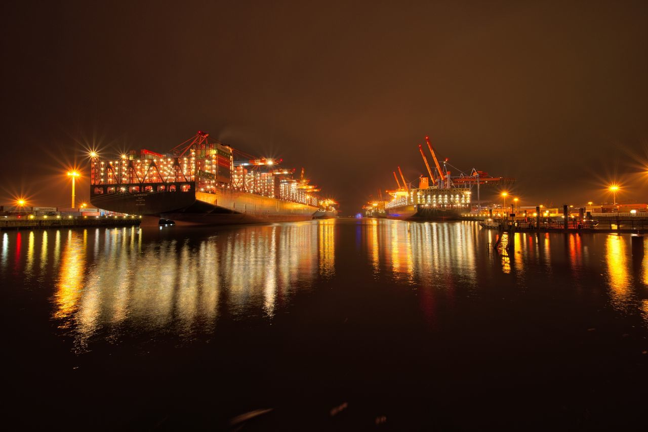 City Containers Containership Freight Transportation Harbor Harbor Harbor View Illuminated Industrial Lights Long Exposure Nautical Vessel Night Nightphotography No People Outdoors Port Reflection Scenics Sky Terminal Water