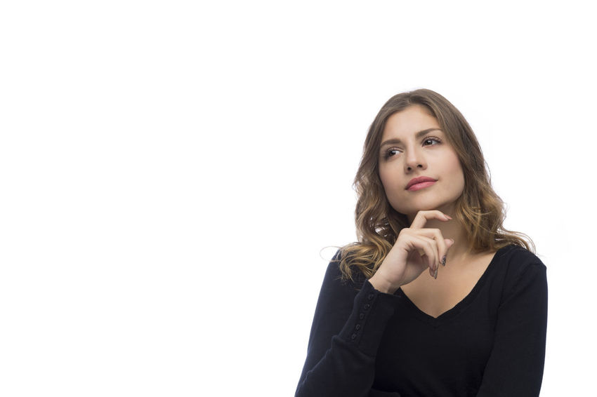 Beautiful young woman is thinking, isolated on white background Beautiful Blonde Decisions Doubt Dreaming Isolated Pensive Skeptical Thinking Woman Attractive Casual Clothing Caucasian Confused Curious Dilemma Face Girl Pretty Problem Skeptic Think Uncertain Unsure White Background