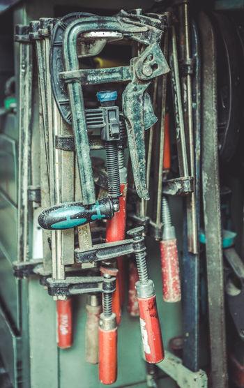 Old clamps at repair service. Garage concept. Abandoned & Derelict EyeEm EyeEm Best Edits EyeEm Best Shots EyeEm Selects EyeEm Gallery EyeEmBestPics EyeEmNewHere Office Abandoned Close-up Day Eye4photography  Garage Grunge Handmand Hardware Metal Repairman Rusty Metal Screwdriver Set Spanner Set Vanadium Vehicle Part Wrench