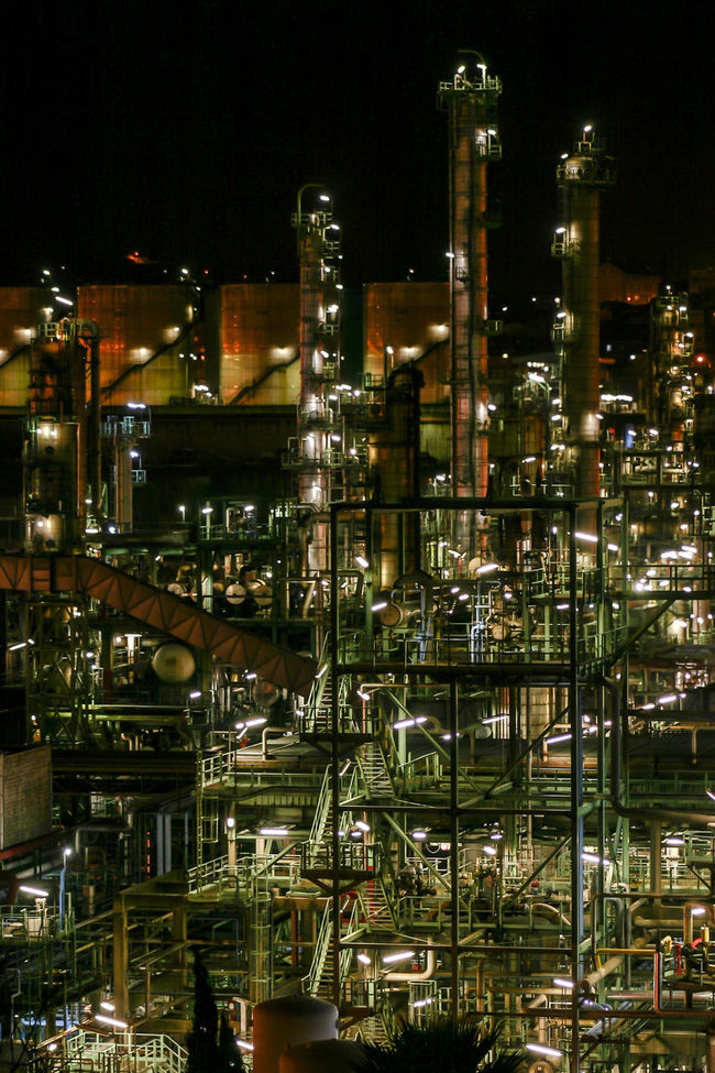 Refinery Industry Industrial Petrochemical Petrochemicalplant Night Illuminated