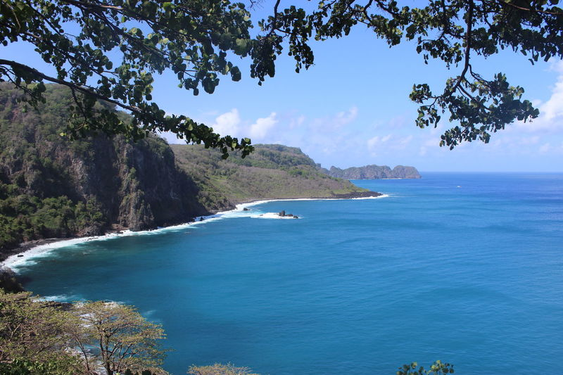 Beauty In Nature Blue Brazil Coastline Fernando De Noronha Island Mountain Ocean Paradise Sea Seascape Tranquil Scene Tropical Climate Water Landscapes With WhiteWall