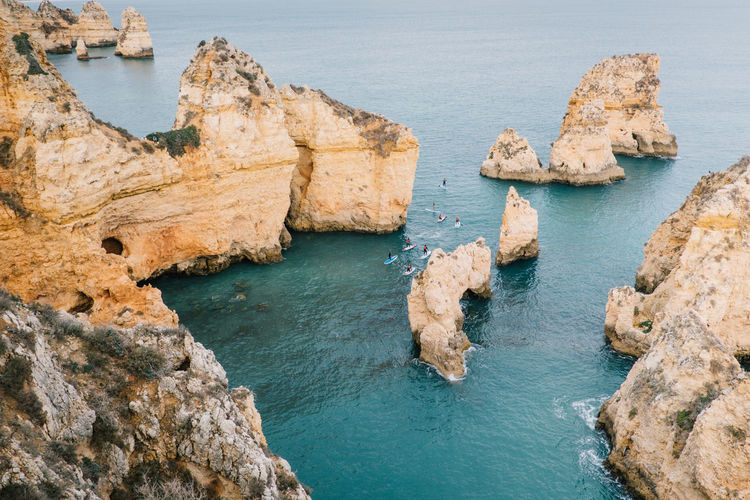 Lagos Algarve Atlantic Atlantic Ocean Lagos Ponta Da Piedade Portugal Praia De Dona Ana Travel Beach Beauty In Nature Cliff Day High Angle View Nature No People Ocean Outdoors Rock - Object Rock Formation Scenics Sea Seaside Tarvel Destination Tranquil Scene Tranquility Water