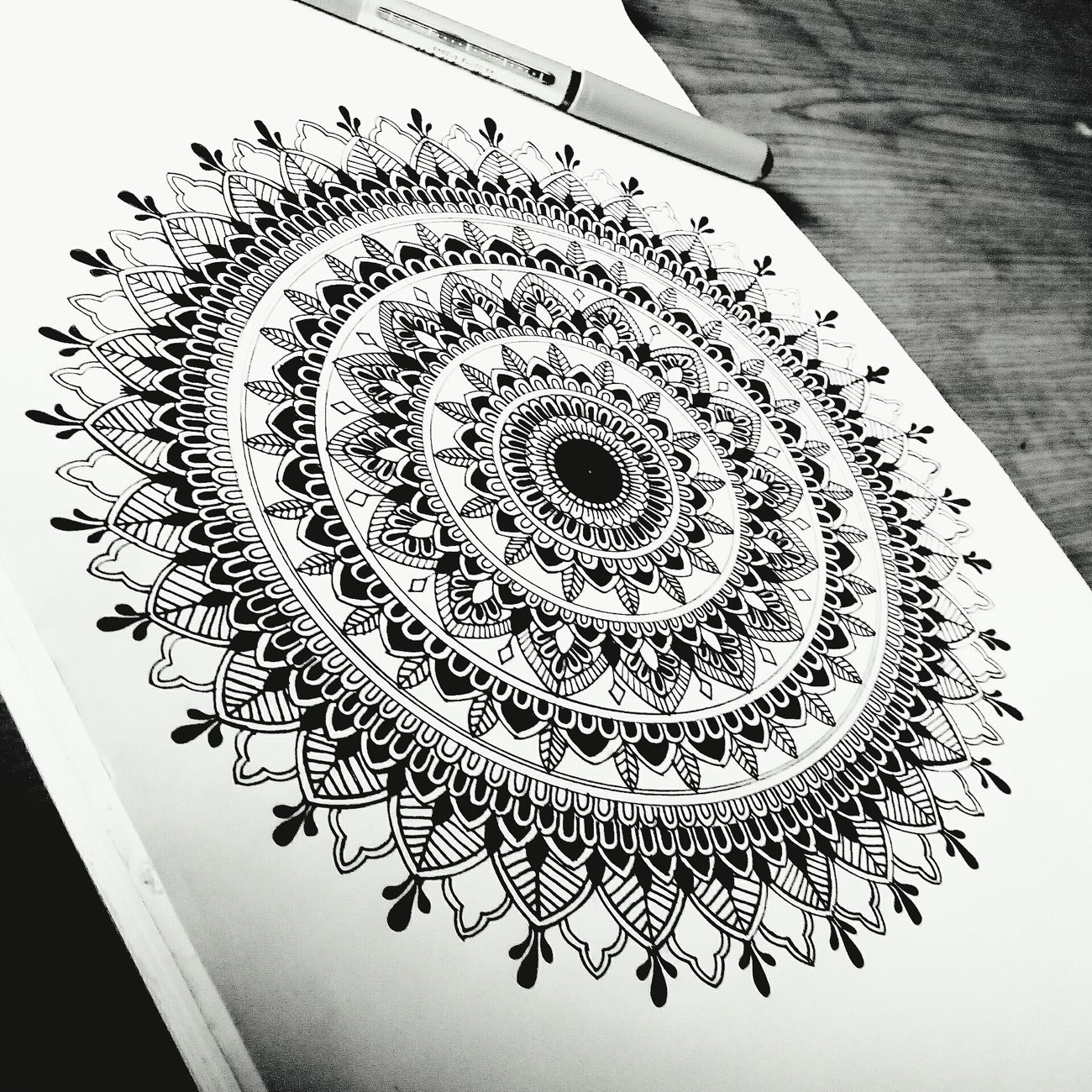 First Eyeem Photo Happy Drawing ArtWork Lovely Love Sketch Mandala Blackandwhite