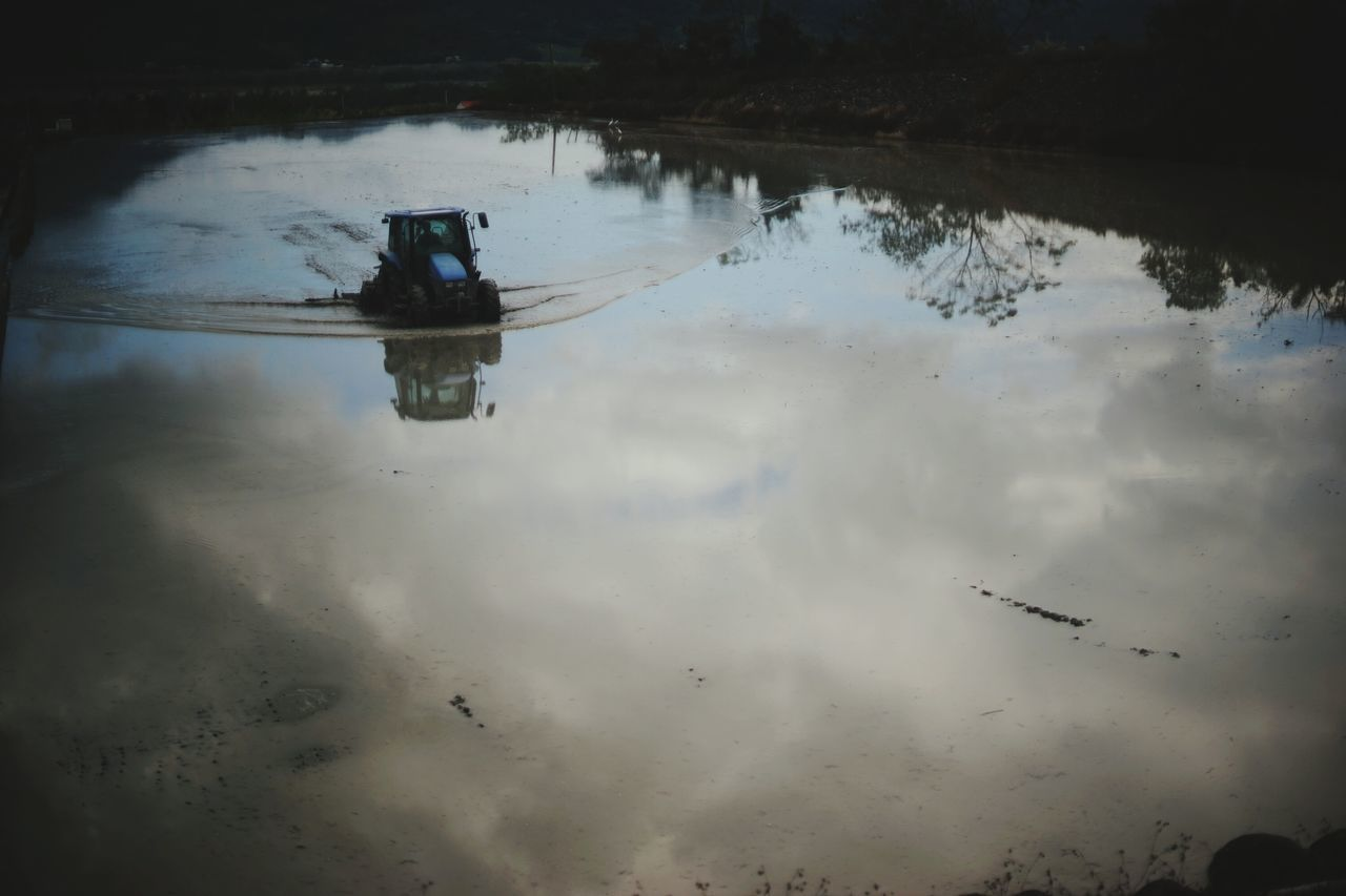 Reflection Water Nautical Vessel Natural Disaster Wet Farm Equipment Agriculture Farm Reflected Glory Rural Scene Farm Life Farming Vehicles Reflection Nature Landscape Illuminated Taiwan Beauty In Nature Sky And Clouds
