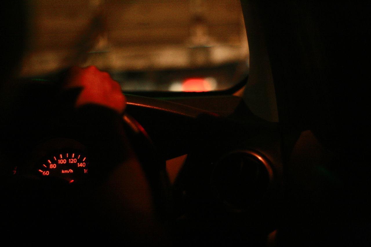 Car Interior Close-up Dashboard Gauge Illuminated Indoors  Land Vehicle Night No People Speedometer Technology Transportation Vehicle Interior