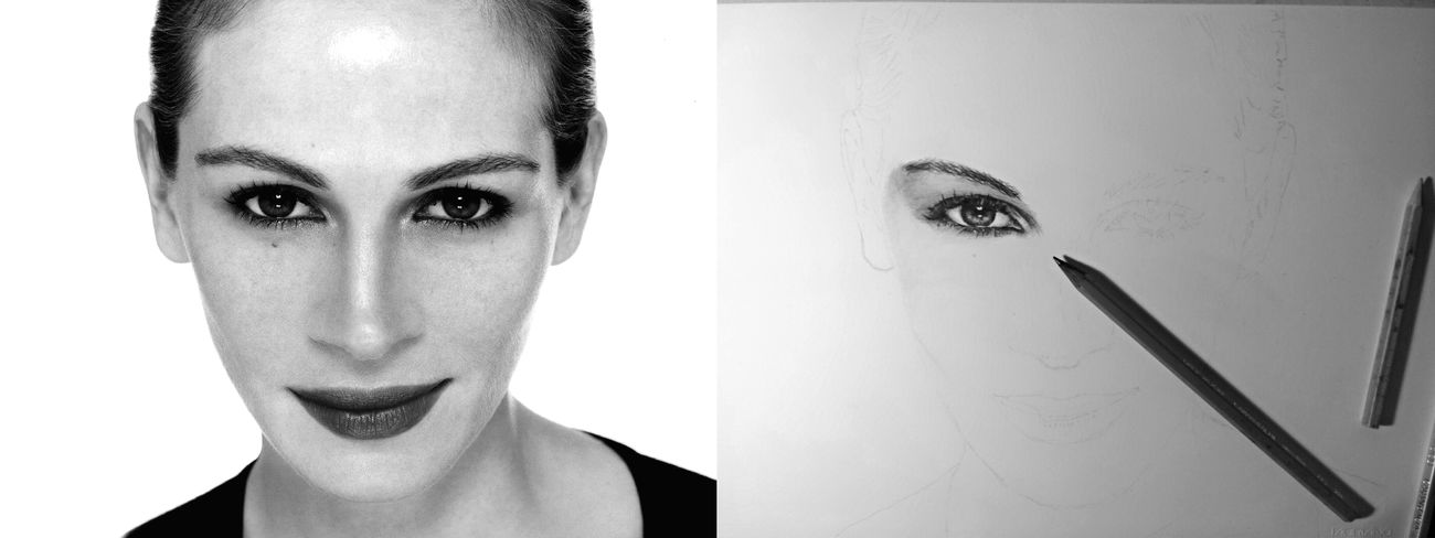 """work in progress """"Julia Roberts"""" (: Drawing Portrait Art Model"""