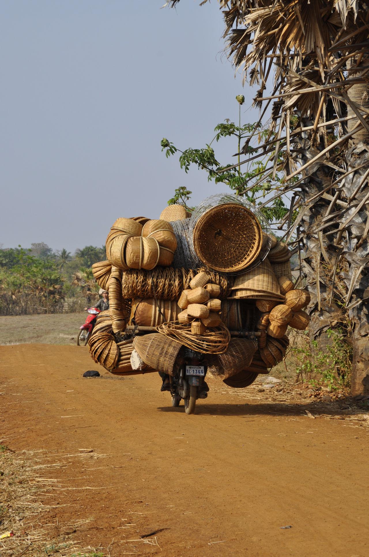 Marchand ambulant de paniers en osier sur les routes du Cambodge Cambodge Marchand Osier Panier Paysage Route Transport Travel Velos