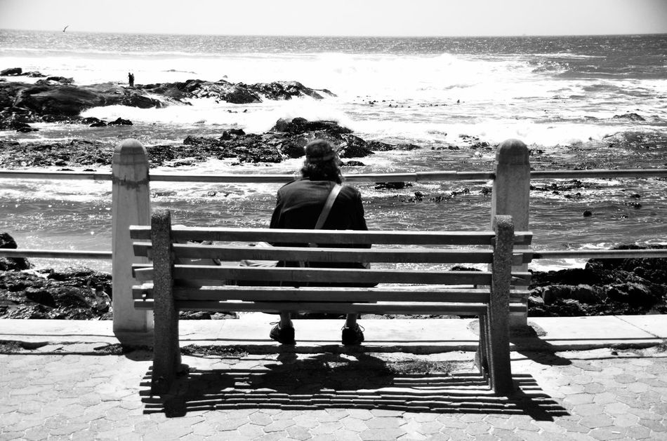 People Of The Oceans Silhouette_collection Silhouettes Of People Silhouettes Black & White Blackandwhite Photography Monochrome Seapointpromenade Capetown Seapoint Capetown South Africa Solitude By The Water Solitude Meditation Reflection Moodiness Loneliness Solitude By The Sea Serenity By The Sea Sitting By The Sea Fresh On Market June 2016