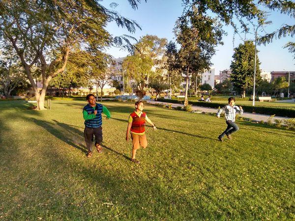 Enjoy The New Normal Childhood Friendship Children Playing Games Garden Park Sprint