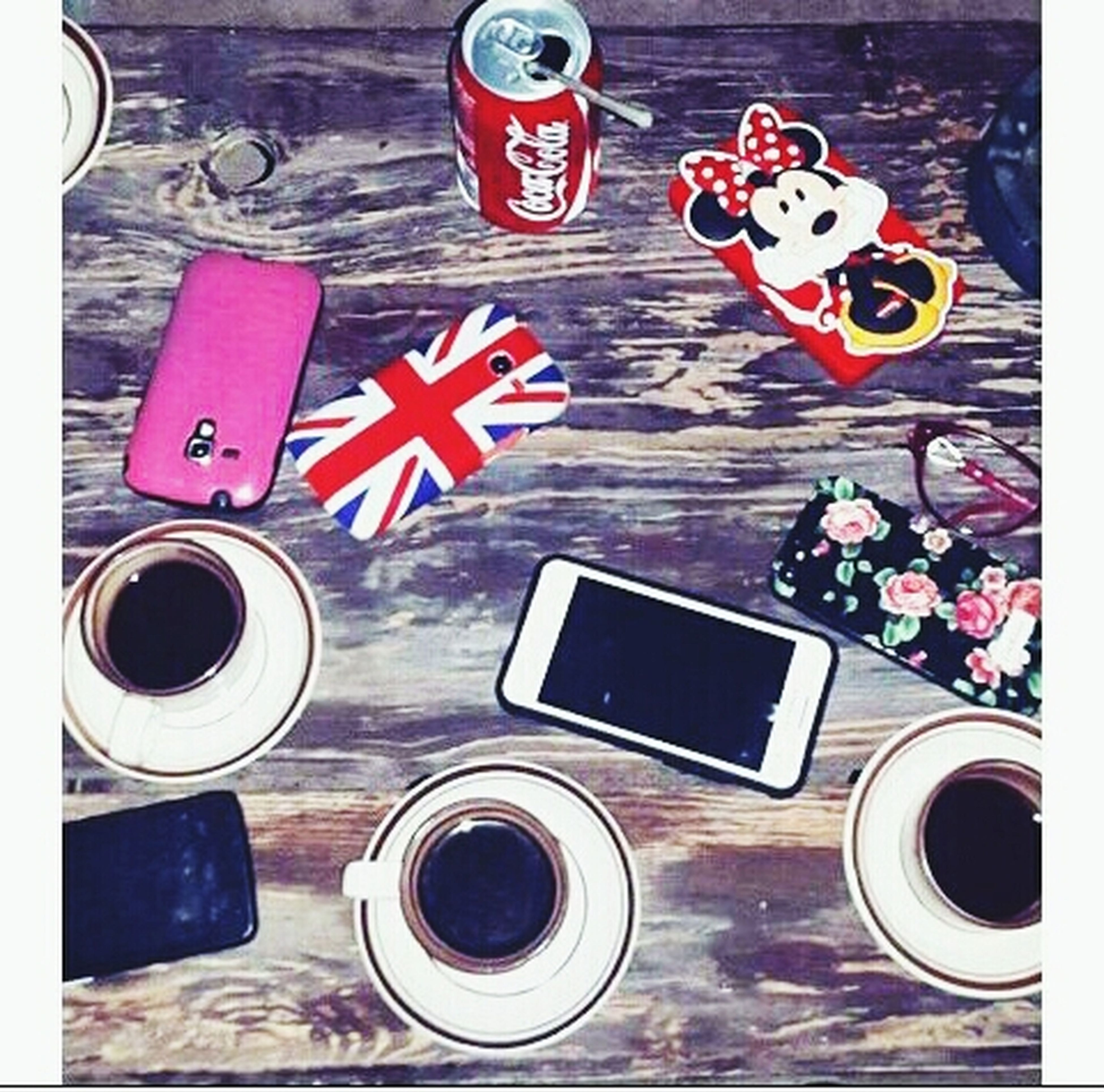 indoors, table, still life, coffee cup, communication, text, food and drink, high angle view, western script, drink, transfer print, freshness, close-up, coffee - drink, auto post production filter, refreshment, coffee, no people, cup, plate
