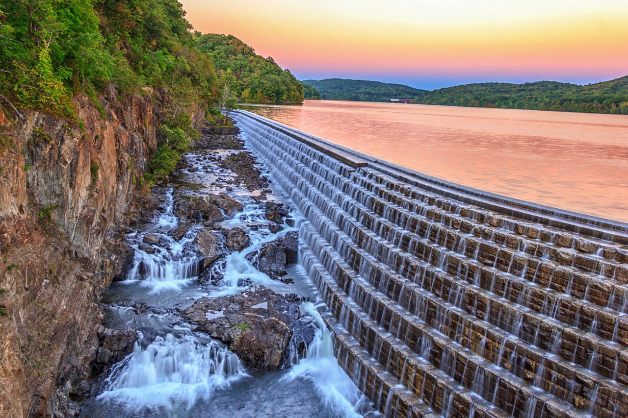 Sunset at Croton Gorge Park is a located in Cortlandt, New York Beauty In Nature Croton Gorge Park Dam Flowing Flowing Water Majestic Nature No People Outdoors Scenics Sky Sun Sunset Tranquil Scene Tranquility Water Waterfall Long Exposure Photography Landscape_Collection