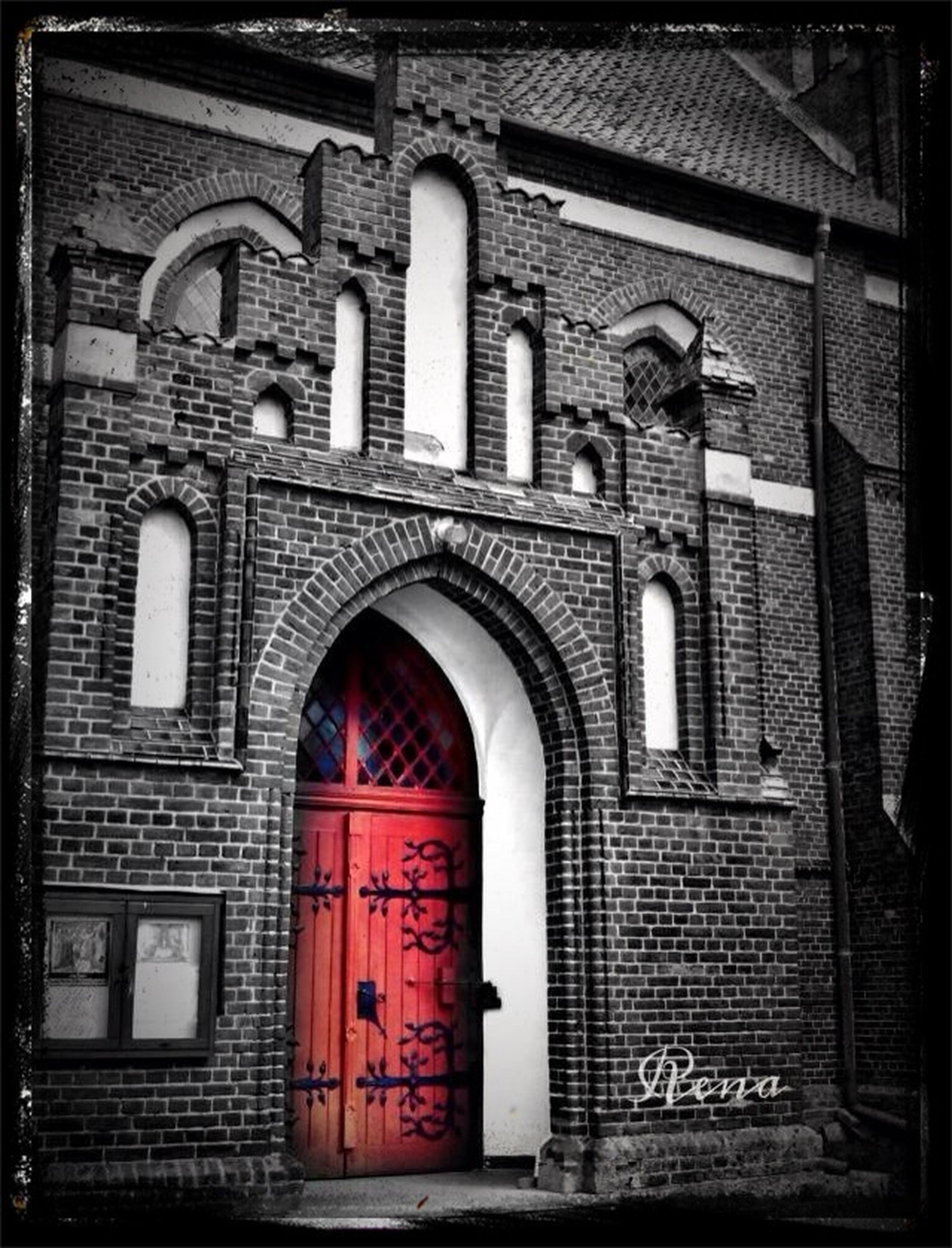 architecture, built structure, building exterior, arch, door, entrance, transfer print, facade, window, closed, auto post production filter, brick wall, church, old, religion, gate, day, outdoors, place of worship, history