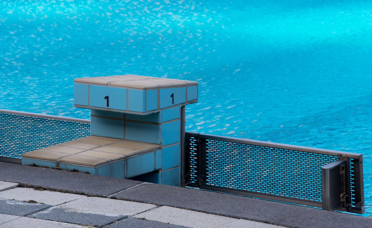 Beauty In Nature Blue Built Structure Day Lifeguard Hut Nature No People Outdoors Pool Sport Startblock Swimming Swimming Pool Water