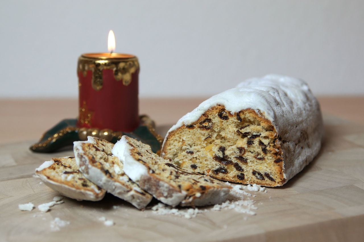 Stollen = German christmas cake Cake Candle Christmas Christmas Cake Christstollen Dessert Food Fruit Cake  Fruit Loaf German Germany Indulgence Loaf Raisins Still Life Stollen Sweet
