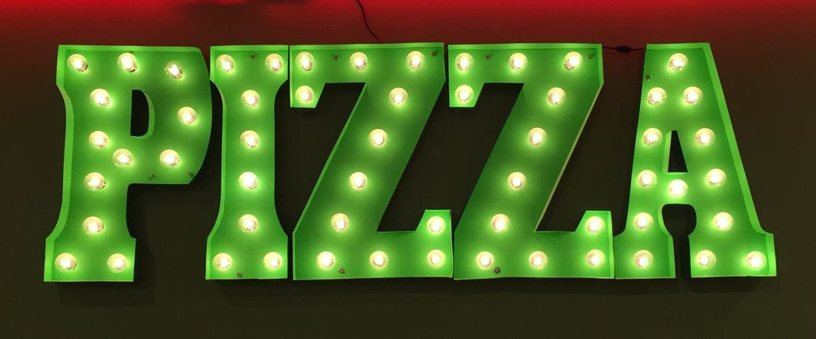 Pizza, Sign Green Color Illuminated Lighting Equipment Indoors  No People Close-up Food