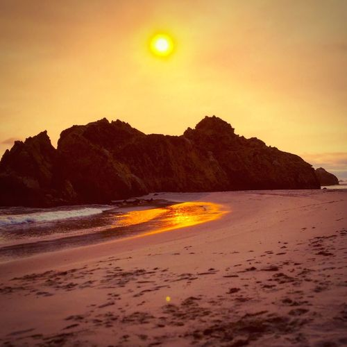 Finally, I had it all to myself... Homeland Big Sur Life Giveitarest Preservation Water TreadLightly Orange Color Sunset Soberanes Smoky Moody Sky Glow Yellow Sky First Eyeem Photo