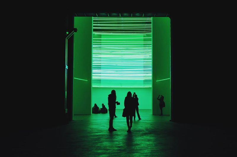 • Lucio Fontana, Environments • Lucio Fontana Environments Art Installation Neon Lights Hangar Bicocca Indoors  Green Color People Silhouette Hanging Out Nikon D90 Igersmilano Milano Da Vedere Art To The People Taking Photos