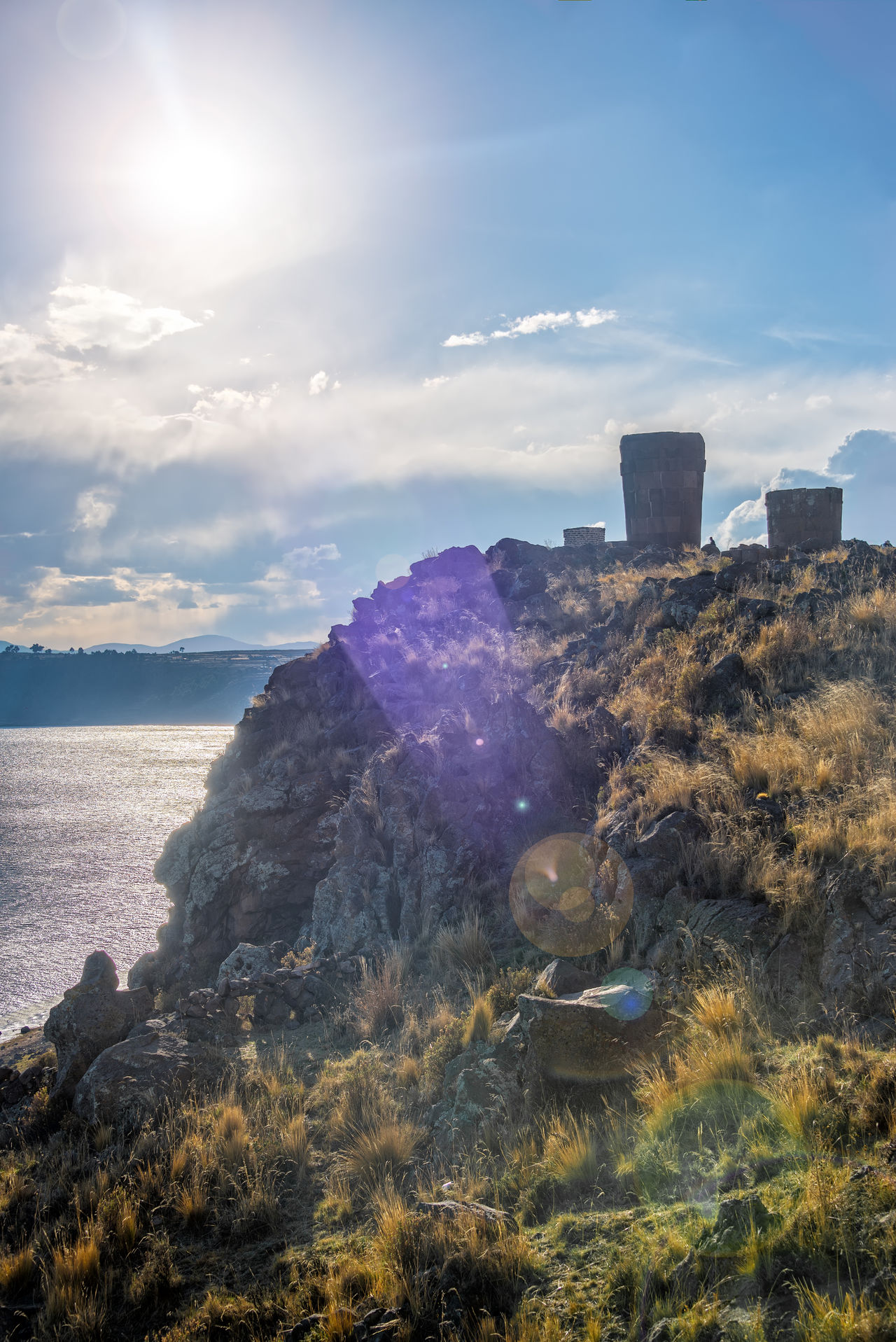 Sunset at the Sillustani funerary towers near Puno, Peru Architecture Aymara Beauty In Nature Building Chullpa Day Funerary Inca Incan Lake Nature No People Outdoors Peru Puno Ruins Sillustani Sky South America Tourism Tower Travel Travel Destinations Umayo Water