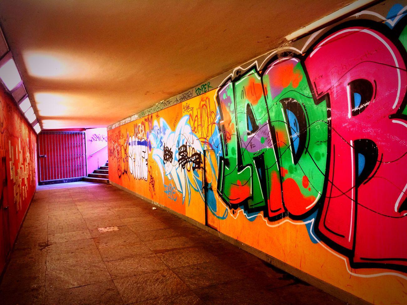 Multi Colored Tunnel Murales Illuminated Art ArtWork Writing Followme Like4like Likeforlike Tagsforlikes I'm In Love Day City