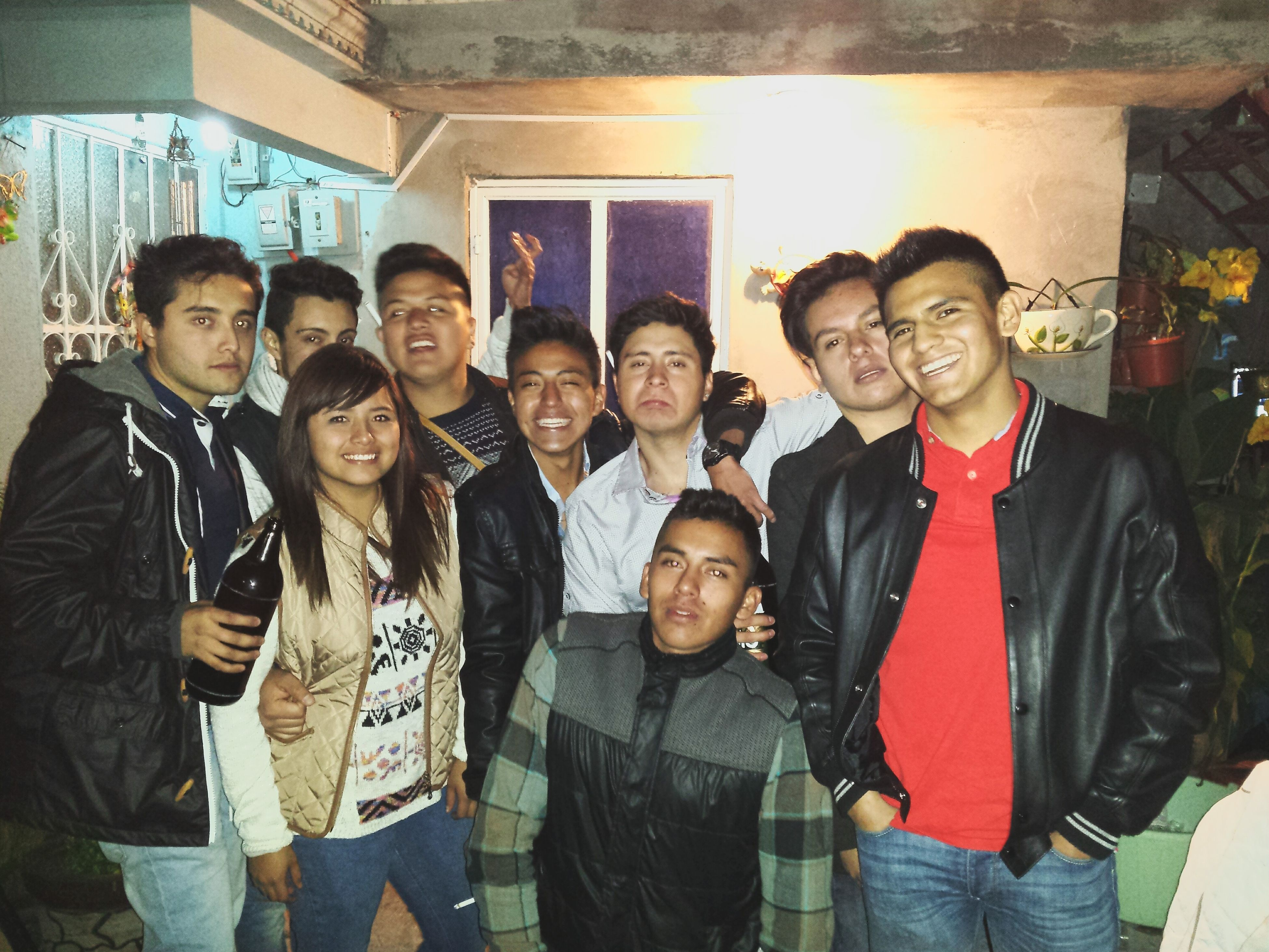 togetherness, lifestyles, casual clothing, bonding, love, leisure activity, friendship, standing, front view, person, portrait, indoors, happiness, men, smiling, three quarter length, looking at camera, young men
